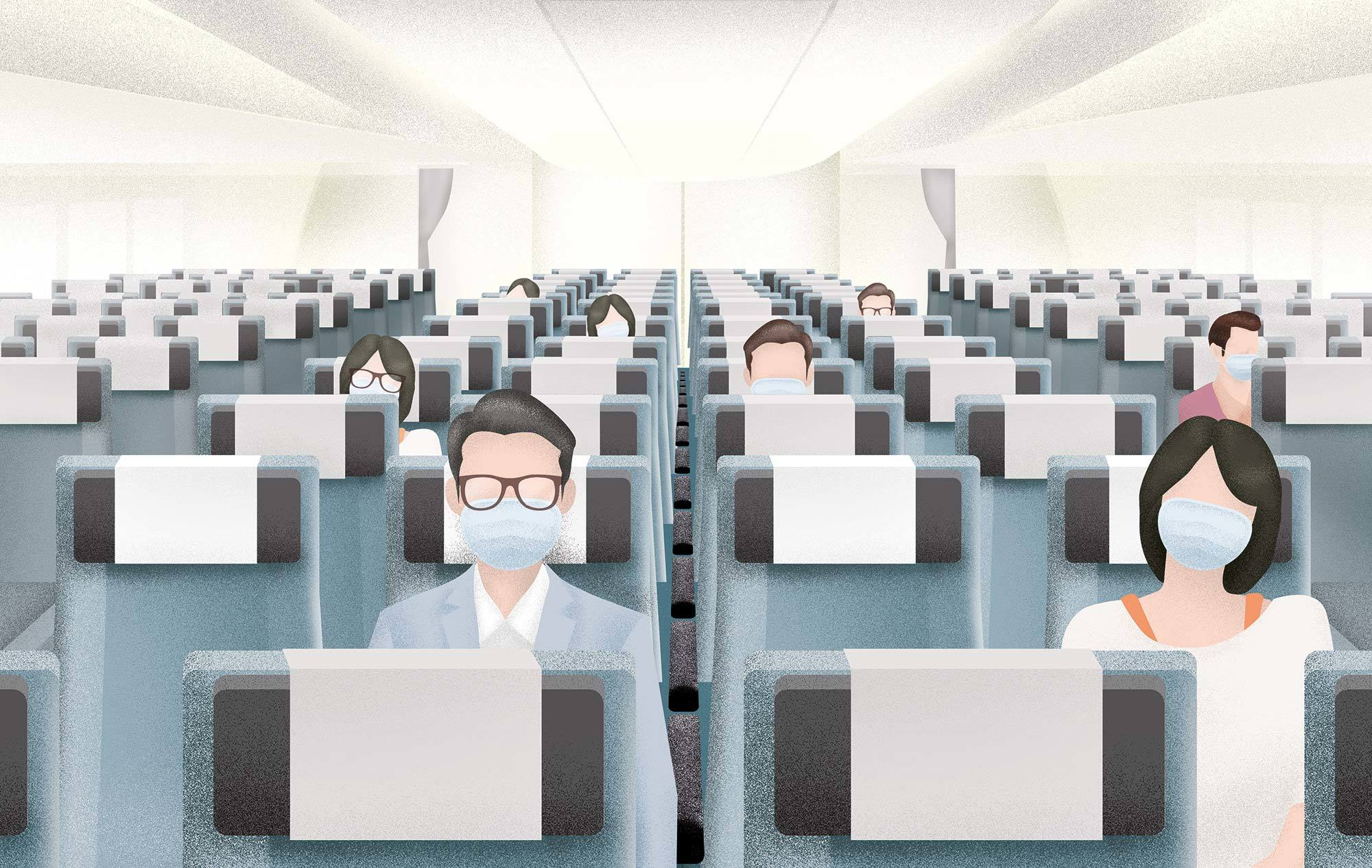 Travellers wearing masks onboard a flight during COVID-19